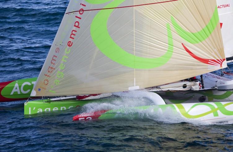 "2009 Transat Jacques Vabre . Multihull start. Open 50' trimaran ""ACTUAL"" Yves Le Blevec (FRA) and Jean Le Cam (FRA)"