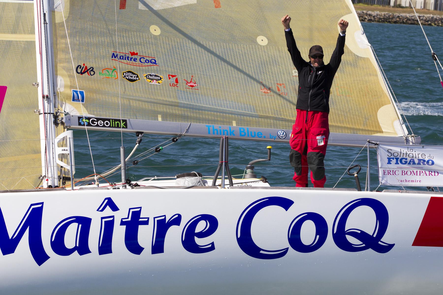 Victoire de Jeremie Beyou (Maitre Coq) sur de la 4eme etape de la Solitaire du Figaro Eric Bompard Cachemire 2014 entre Les Sables d'Olonne et Cherbourg