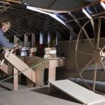 Francois Gabart sur la maquette du Maxi Trimaran Macif 100 - Port la Foret le 10/10/2014