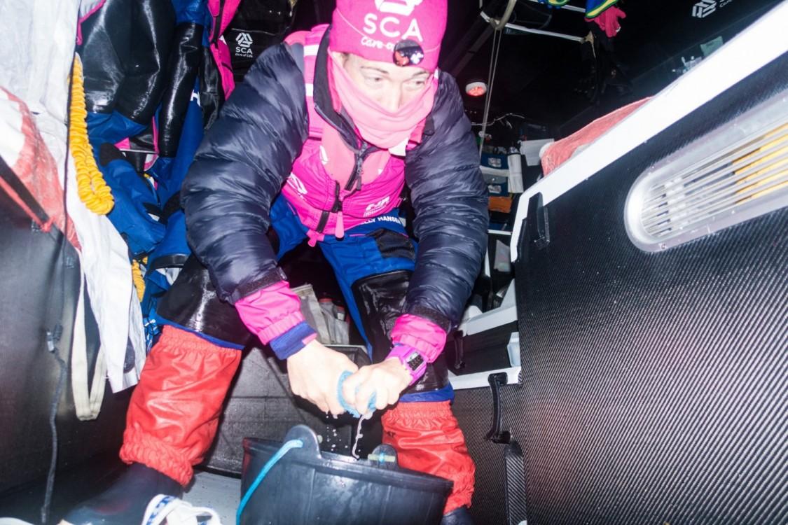 2014-15, Leg5, OBR, Team SCA, VOR, Volvo Ocean Race, onboard, Libby Greenhalgh, housekeeping, down below