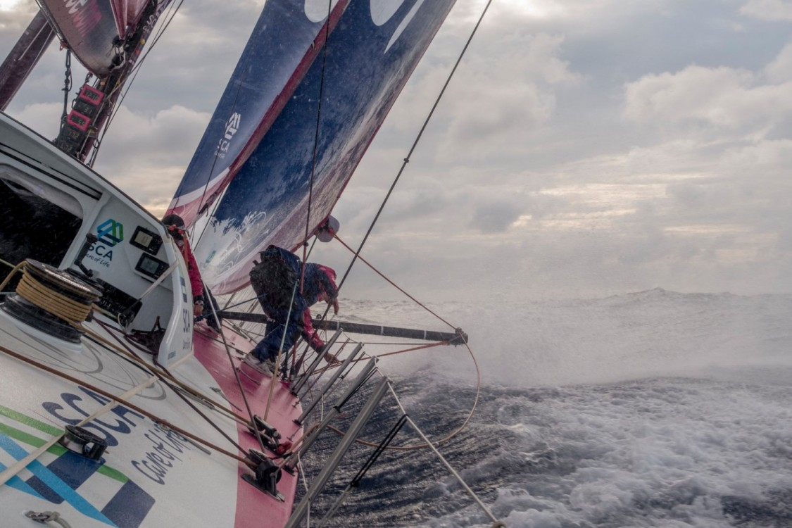 2014-15, ACTION, LEGS, Leg 6, OBR, Team SCA, VOR, Volvo Ocean Race, onboard, Justine Mettraux, splash, heel, upwind