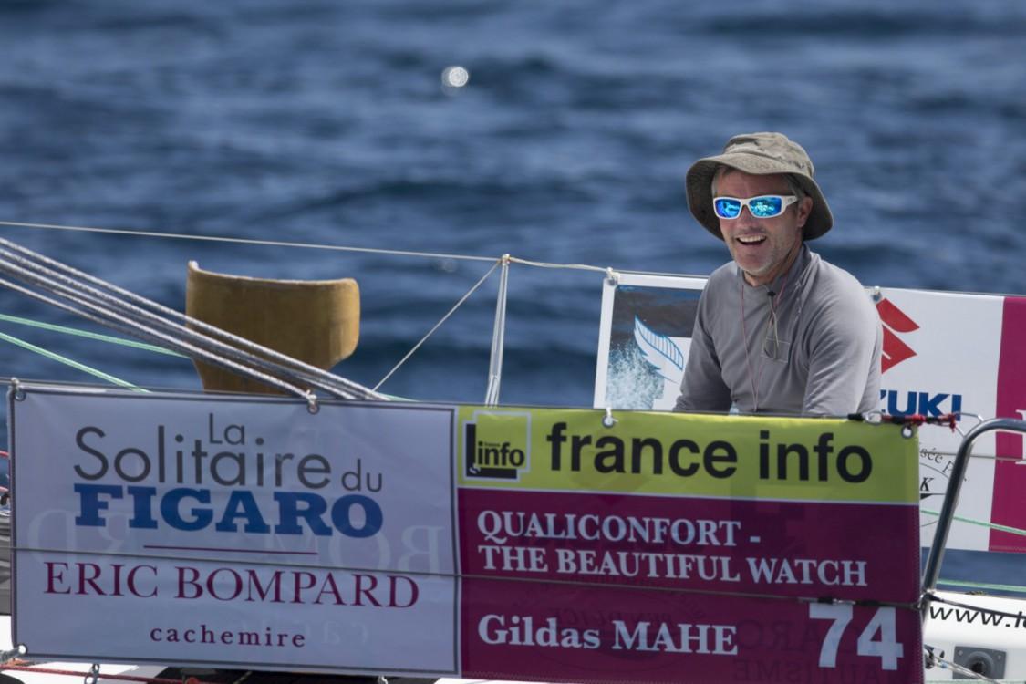2015, ERIC BOMPARD, ETAPE 2, FIGARO, Gildas MAHE, SOLITAIRE DU FIGARO 2015, VOILE