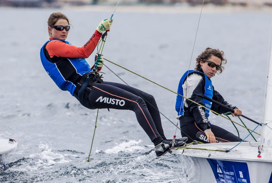2017 World Cup Series Hyères, 470 Women, Classes, Jesus Renedo, Olympic Sailing, SUI 5 Linda Fahrni SUIFL2 Maja Siegenthaler SUISM14, Sailing Energy, World Cup Series Hyères 2017, World Sailing