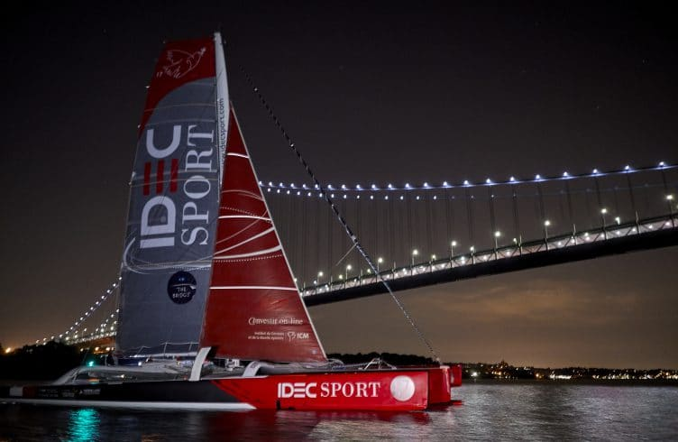 06-2017, NEW YORK CITY, USA, THE BRIDGE, ARRIVAL FINISH, ARRIVEE, MACIF, MULTIHULL, MULTICOQUE, ULTIM, VAINQUEUR, 2nd, FRANCIS JOYON, IDEC SPORT, nuit